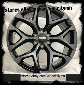 20 Inch Black Chrome Pvd 2018 Chevy Tahoe Ltz Oe Replica Snowflake Wheels 6x5 5