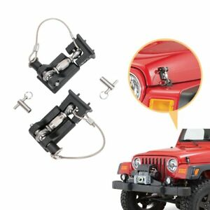For Jeep Wrangler Tj 1997 2006 Pair Hood Locking Engine Secure Latches Catch Kit