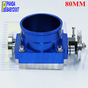 Universal 80mm Flow Billet Aluminum Throttle Body Intake Manifold 3 15 Blue