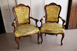 A Pair Of Vintage Hand Carved Solid Wood French Chairs Excellent
