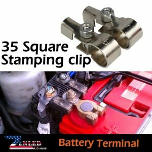 Pair Top Post Battery Cable Terminal Charger Fast Connector Wire Clamp Universal
