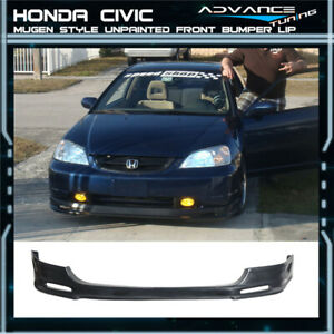 For 03 05 Honda Civic Si 3dr Hb Ep3 Mugen Style Front Bumper Lip Unpainted Pu