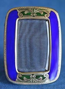 Vintage Italian Blue Green Enamel Gilt 800 Sterling Silver Photo Picture Frame