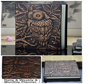 Daily Weekly Planner Journal Vintage Book Owl Tree Leather Classic Cover Antique