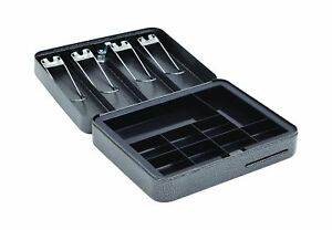 Hercules Cb1209 Key Locking Cash Box With 9 Compartment Tray 11 8 X 9 5 X