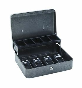 Hercules Cb1210 Key Locking Cash Box With 5 Compartment Tray 11 75 X 10 X