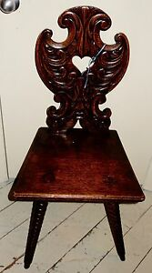Antique Renaissance French Carved Hall Chair Spool Legs Gorgeous Carved Oak