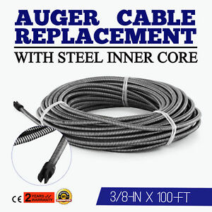 100 Ft Replacement Drain Cleaner Auger Cable Plumbing 30m Cleaning