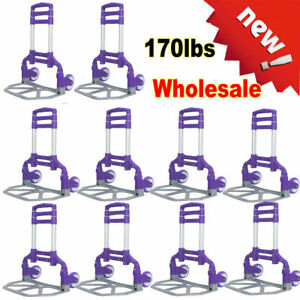 170lbs Cart Folding Dolly Push Truck Collapsible Trolley Luggage Aluminium Lot