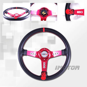 Pvc 350mm Carbon Fiber Steering Wheel W Red Stitch 3 Red Spoke Red Flame Center