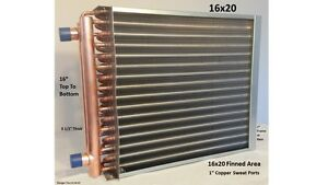 16x20 Water To Air Heat Exchanger 1 Copper Ports W Ez Install Front Flange