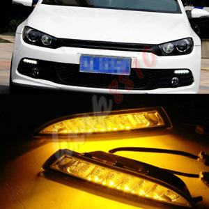 1set Led Daytime Running Lights Drl Fog Driving Lights For Vw Scirocco 2011 2015
