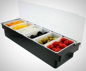 Ice Cooled Condiment Serving Container Chilled Garnish Tray Bar Caddy Home Work