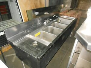 Commercial Ss Bar Sink 4 Bowl 2 Drainboards 72 X 24 X 36