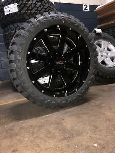 22x10 Moto Metal Mo962 Black Wheel Tire Package 33 Atturo Mt 6x135 Ford F150