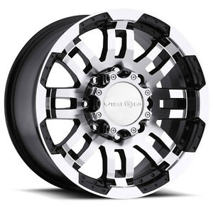 17 Vision Black Wheels Rims 32 At Tires 8x6 5 8 Lug Dodge Chevy Gmc Ram Truck