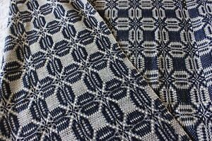 Antique Hand Loomed Indigo White Summer Winter Antique Coverlet C1860