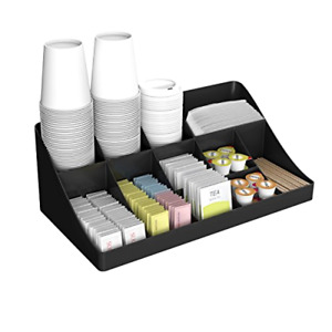 Brand New Mind Reader 11 Compartment Breakroom Coffee Condiment Organizer Black