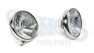 Headlights stainless Halogen 12 Volt With Turn Signal 1930 1931 Ford