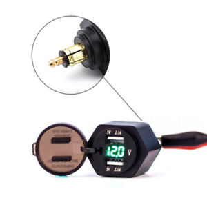 Eriding 2 Usb Charger 4 2a Adapter Green Led Voltmeter With Powerlet Din Hella