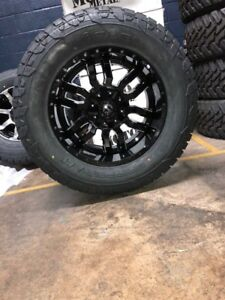 20x10 Sledge Black Wheels 35 Fuel At Tires Package 5x5 Jeep Wrangler Jk Jl Tj