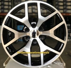 4 New Gmc Sierra 24x10 6x139 7 30 Black Machine Wheels Chevrolet Silverado