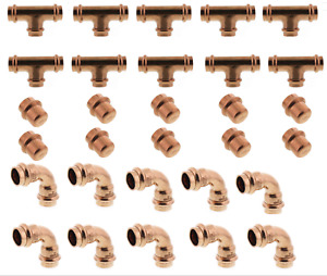 lot Of 30 3 4 90 Elbow Tee Caps Propress Copper Fittings Free Shipping