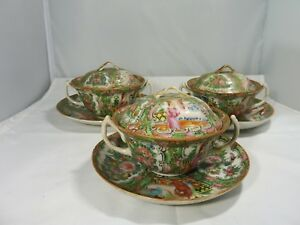 3 Chinese Rose Medallion Cover Riced Or Soup Bowls With Saucers Circa 1890