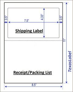 800 Half Sheet Shipping Labels W receipt