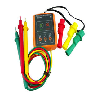 Sm852b 3 Phase Rotation Tester Indicator Detector Meter New W led Buzzer