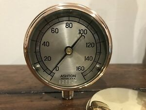 Vintage Steam Gauge Ashton Solid Brass Industrial Steampunk 3 Beveled Glass