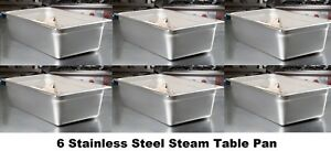 6 Pack Full Size 6 Deep Nsf21 Quart Silver Stainless Steel Steam Table Pan Nib