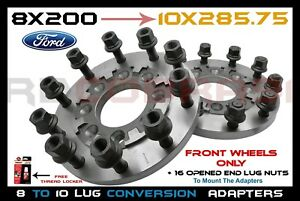 2pc Front 8x200 To 10 Lug Semi Wheels Adapters 3 4 Thick Steel For F350 Duallys
