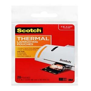 Scotch Thermal Laminating Pouches 2 5 X 3 8 Es Wallet Size 20 pack tp5904 20