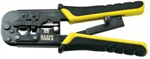Klein Tools Ratcheting Modular Crimper Stripper 7 1 2 Wire Cutter Fixed Joint