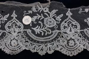 Antique French Hand Made Lace Yardage Bridal Dolls 60 L X 4 W Flounce