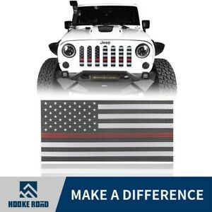 Hooke Road Stainless Steel Usa Flag Mesh Grille For Jeep Wrangler 07 18 Jk