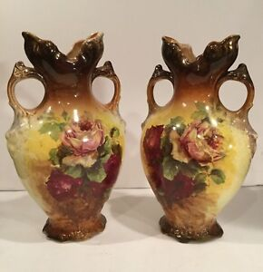 Antique Mantle Vases Beautiful Rose Pattern Heavily Crazed Drilled For Lamps