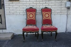 Pair Of Decorative French Provincial Carved Side Accent Chairs With Needlepoint