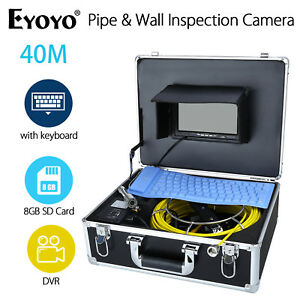 Hd 7 40m Pipe Pipeline Drain Inspection Sewer 8gb Camera Recording W Keyboard