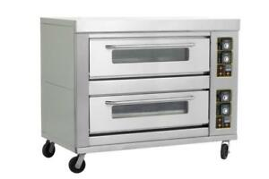Commercial 2decks 6pans Bread Cake Pizza Gas Baking Oven Double Layers Six Tray
