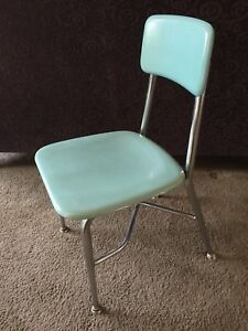 Vintage Heywood Wakefield Child Size School Chair Mid Century Chrome Woodite 60s