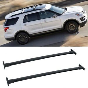 1 Pair Black Al Roof Rack Cross Bars Top Rail Carries For 11 15 Ford Explorer