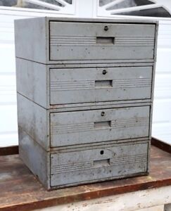 Vintage Industrial Gray Metal 4 Drawer Large Storage Parts Workbench Cabinet