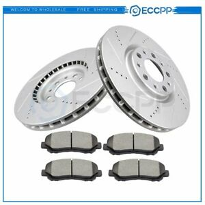 Front Brake Rotors Ceramic Pads Drilled Slotted For 2013 2016 Dodge Dart 4wd