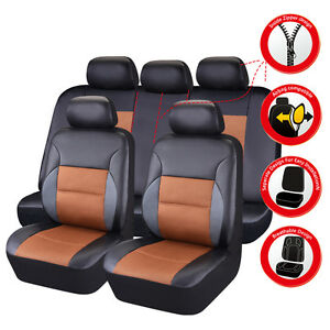 Car Pass Breathable Pu Leather Universal Fit Car Seat Covers Brown Color
