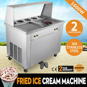 Double Pan Fried Ice Cream Machine W Dust Cover Sorbet Juice 2 Pan 5 Buckets