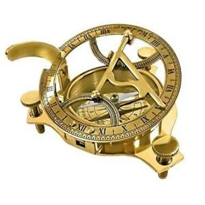 Solid Brass 3 Sundial Compass W Inlaid Hardwood Box Highly Accurate Itdc New