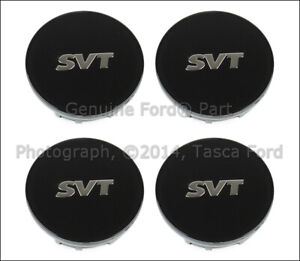 Set Of 4 Oem Svt Black Wheel Center Caps Covers F150 Raptor Focus Mustang Cobra
