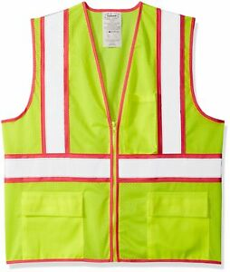 Class 2 High Visibility Lime Pink Trim Reflective Safety Vest W pockets Medium